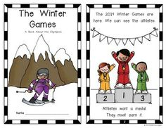 Olympic Winter Games Emergent Reader for Kindergarten and First Grade. 10 pages. Blackline AND color copies included. $