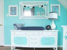 Love the paint job on this vintage dresser! #nursery #nurserydecor #changingtable