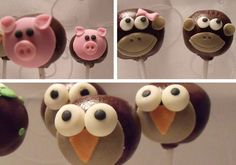 I pinned this cake ball picture for the monkey picture! LOVE IT!