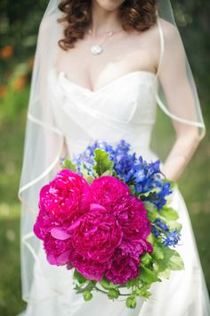 Cobalt and bright pink wedding bouquet
