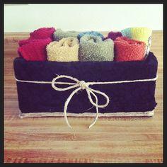 Kleenex box covered in fabric, repurposed washcloth holder