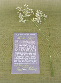 It's all in the details ~ sweet and simple details like this Thank You note to friends and family! Photography by msp-photography.com