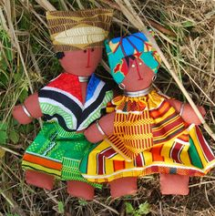African Cloth Dolls, Handmade, Embroidered Faces by #rooee
