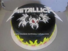 Homemade Metallica Cake Design: This Metallica Cake Design was requested by a Metallica fan's wife for her husband's birthday. She wanted her husbands tattoo of the scary guy incorporated