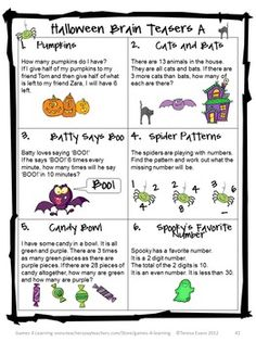 Halloween brain teasers from Halloween Math Games, Puzzles and Brain Teasers a collection of Halloween Math from Games 4 Learning. $