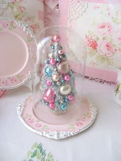 Hand Painted Pink Roses Plate with Glass Cloche