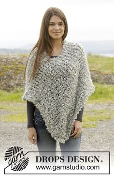 """Knitted DROPS poncho in garter st and stockinette st in 2 strands """"Puddel"""". Size: S - XXXL ~ DROPS Design"""