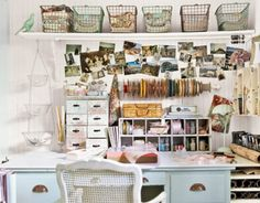 studio, craft space, shabby chic, craft desk, wire baskets, home offices, workspac, the wire, craft rooms