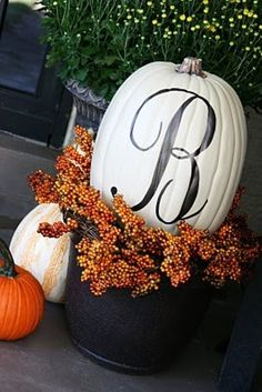 decorating ideas, front doors, painted pumpkins, fall pumpkins, curb appeal, fall porches, white pumpkins, front porch decorations, front porches