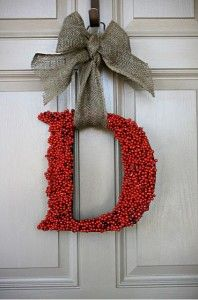 "Monogram Door Hanging! This one looks a little ""Christmasy"", but I'm sure it could be modified for year round!"