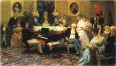 Henryk Siemiradzki, Chopin grający na fortepianie w salonie księcia Radziwiłła, 1887