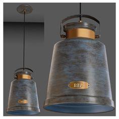 Urban Grey La Creu Vintage Pendant LX400 (urban grey exterior + ceiling rose and blue interior). More at www.sparksdirect.co.uk