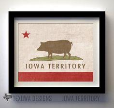 Iowa Territory (Iowa/California Flag Mashup) - Iowa Themed print by Texowa Designs