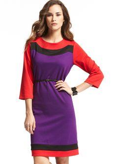SHARAGANO Ponte Colorblock Dress
