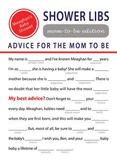 Mad Libs Baby Shower Game