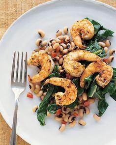 Cumin-Dusted Shrimp with Black-Eyed Peas and Collard Greens - Martha Stewart Recipes