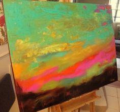 Abstract Art Earthy Sunset by Karen Fields 48 x 36  $1200