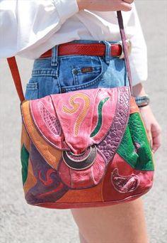 Vintage leather Multi coloured bag £25