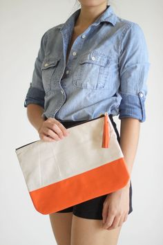 GRANDE- Medium Canvas and Leather Carry-all Pouch in Orange $40