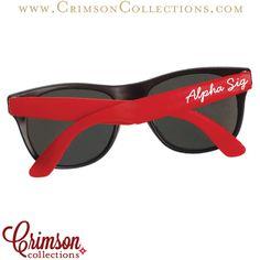 Alpha Sigma Alpha red script sunglasses!! Perfect for Bid Day!! Shop Crimson Collections!!