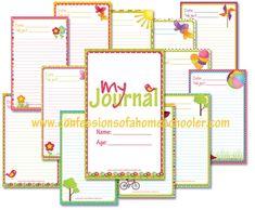 journal prompts, summer journal, journal pages, school organization printables, free journal printables