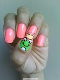 frog princ, kiss, princess, ring finger, nail designs, nail art designs, nail arts, prince charming, kid