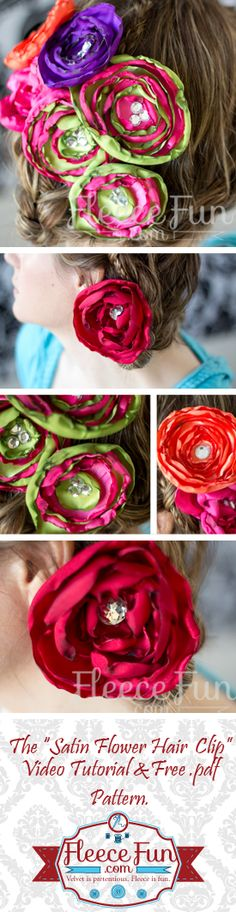 You can learn how to make two different kinds of satin flower hair clips, one traditional and one rose.  Free pattern and video tutorial.  Easy DIY!