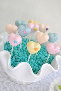 Cute heart cake pops at a Rainbow Heart party! See more party ideas at CatchMyParty.com!