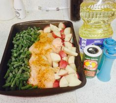 Seriously easiest dinner ever. Great for school nights. Put three to four large chicken breast in the middle of caserol dish (mine broke) drizzle oil on and sprinkle Cajun season on top. Add the green beans salt and pepper top. Then the cubed potatoes with choice of season. I used Cajun as well. Cover with foil, Pop In the oven till chicken breast are fully done (45 min more or less)