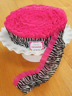 Ruffled Hot Pink and Zebra Print Crepe Paper