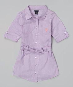 Look at this #zulilyfind! Delta Purple Stripe Belted Button-Up Dress - Toddler & Girls #zulilyfinds
