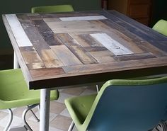 Reclaimed wood resurfaced kitchen table diy #furnituremakeover #woodworking @savedbyloves