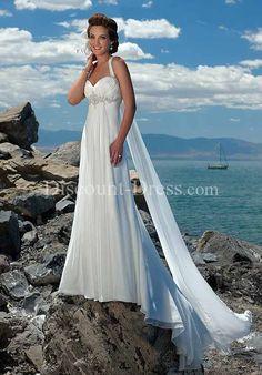 Halter Floor Length Watteau Gossamer Chiffon Beading Wedding Dress style 11424 - - US$119.00