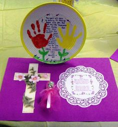 Ceramic Plates I made with my Students for Mothers Day one year. Put  their HandPrints  on it with  A cute Poem and decorated it.  This was displayed by each mothers seat when they walked in..