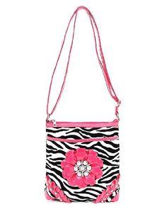 Raised Flower Rhinestone Studded Zebra Print Cross Body Handbag - http://handbagscouture.net/brands/private-label/raised-flower-rhinestone-studded-zebra-print-cross-body-handbag/