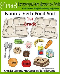 Free Noun Verb Food Sort (Great for Language Arts Center or File Folder Game)
