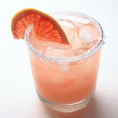 Salty Chihuahua. Tequila, Cointreau and grapefruit juice. Garnish with coarse salt and grapefruit slices... pretty!