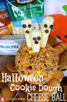 YUM! #Halloween Cookie Dough Cheese Ball #Recipe made with Kraft Cheese and served with vanilla wafers and gingersnaps http://freebies4mom.com/cookiecheeseball #sponsored