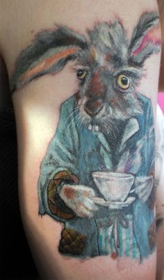 Tattoo of the March Hare from Alice in Wonderland. Love his googly eyes. :)