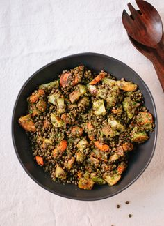 Roasted Carrot & Potato with a Lentil, Miso & Parsley Sauce