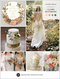 We are simply swooning over our new Claire Pettibone for Wedding Paper Divas collection. Today's inspiration board takes cue from the Victorian elegance of this invitation, and the romantic palette of muted coral and mossy greens.