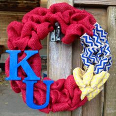 Kansas Jayhawk Burlap Wreath KU Wreath Sports Wreath by tkCo, $35.00