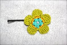 Crochet Flower Hair Pin Green Yellow Teal by CatWomanCrafts, $5.00