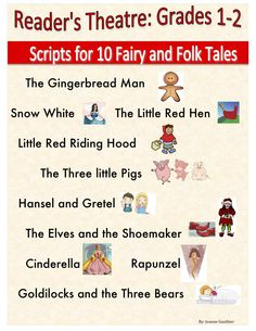 10 fairy tale reader's theatre scripts with parts for emergent, transitional and fluent readers.  Also includes follow up reading comprehension worksheets and templates for students to write their own scripts.