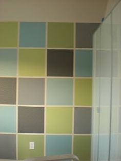 Fun wall of painted colored squares