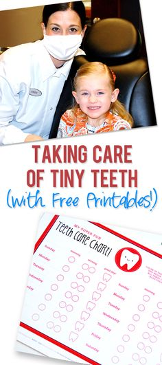 Taking Care of Tiny Teeth! Tips and FREE printable teeth care charts for children as they grow up. | howdoesshe.com #kidsteeth #printableteethcharts