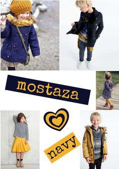 Mostaza y navy en Moda Infantil | http://petit-on.com #modainfantil