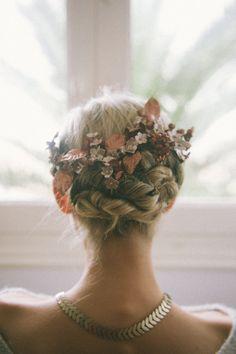 flower crowns, bridal headpieces, braid, gild flower, bridal hair