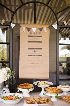 in love with this printed menu on kraft paper over the buffet. So doing this some time.