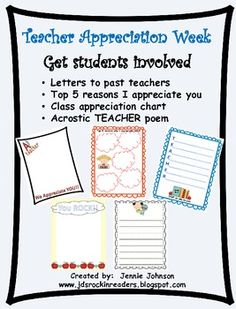 FREE - Teacher Appreciation Writing - have students write their former teachers a little note, or just write about their favorite teacher (remember - many people in life can be teachers!)